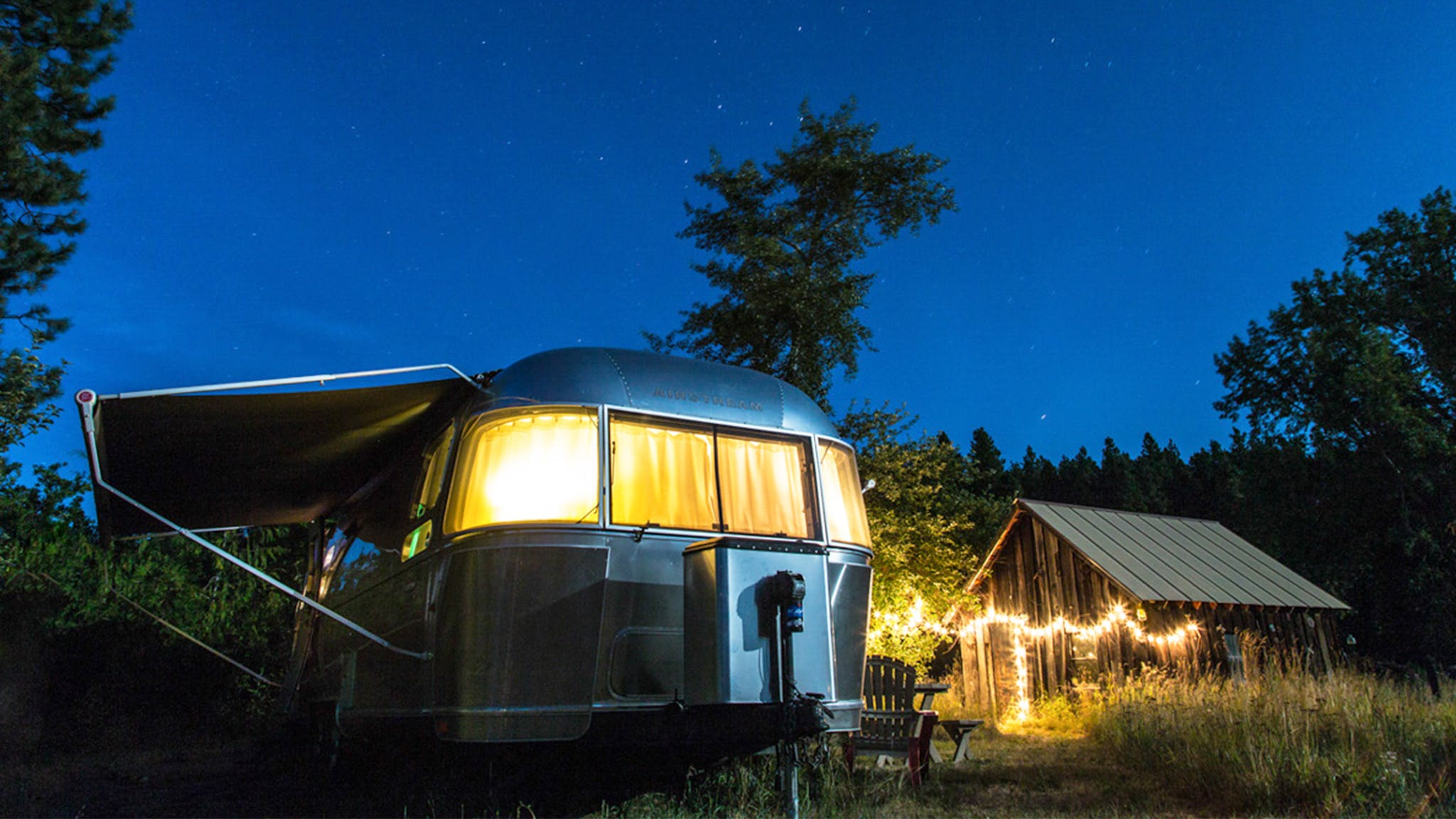 Airstream Travel Trailer with interior lights on