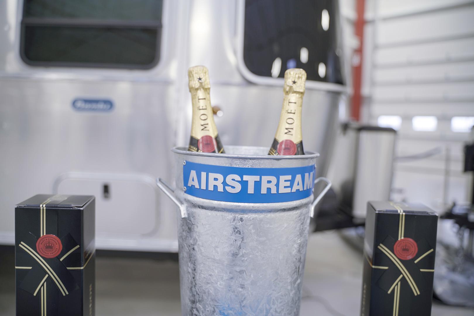 Airstream Christening Ceremony Champagne