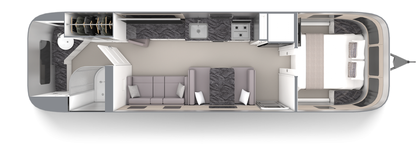 Airstream Classic 33FB Comfort White with Earl Grey Floor Plan