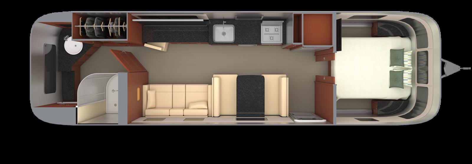 Airstream-Classic-33FB Mocha-Cherry-with-Macadamia-Floor-Plan