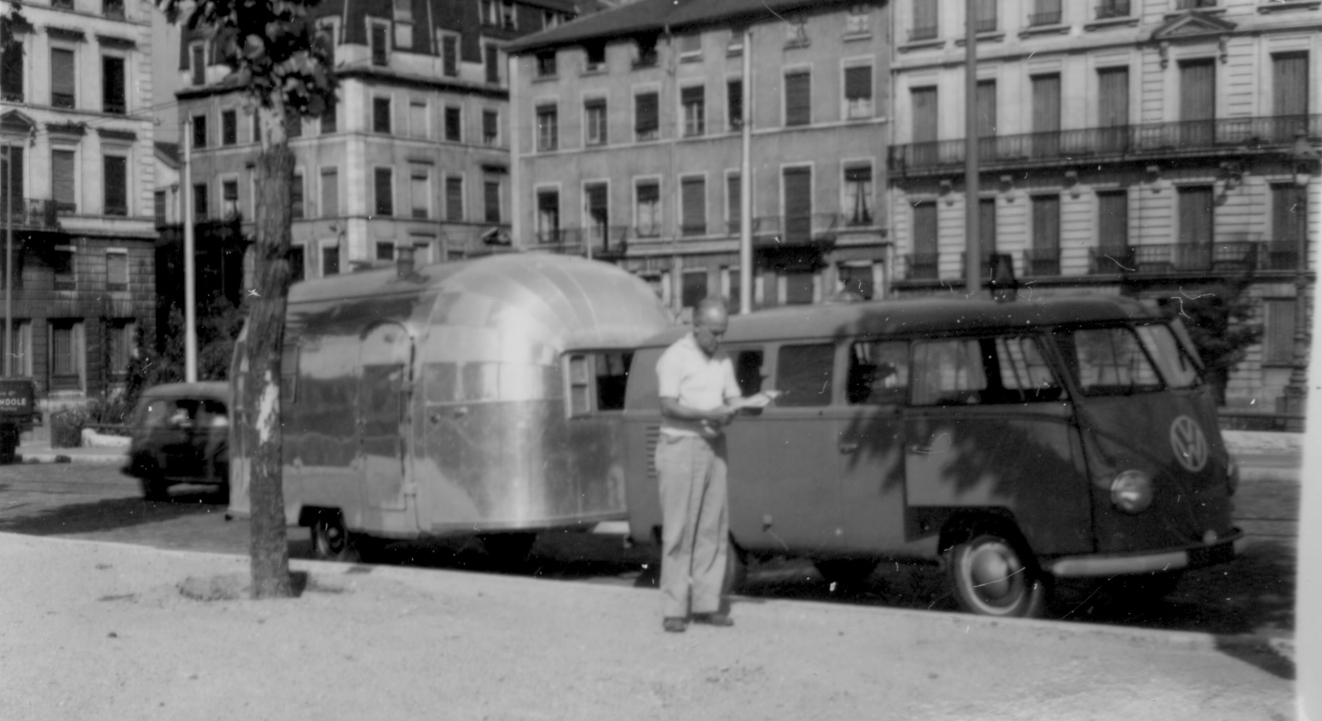 1953 European Trailer Rally Wally with VW Van-Courtesy of the Estate of Helen Byam Schwamborn