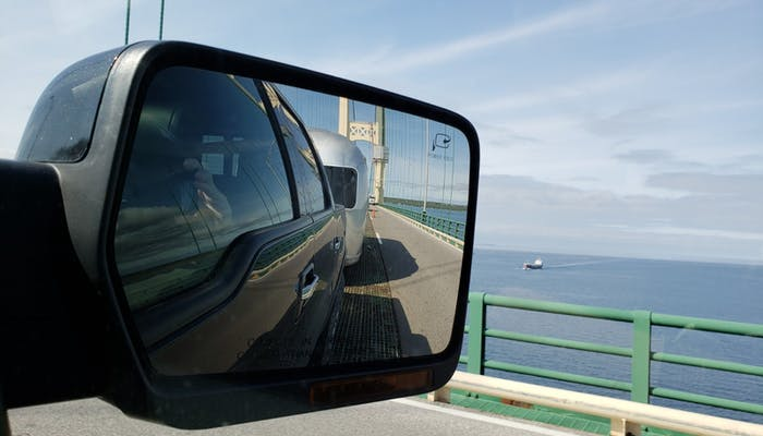 Airstream Travel Trailer in Rear View Mirror