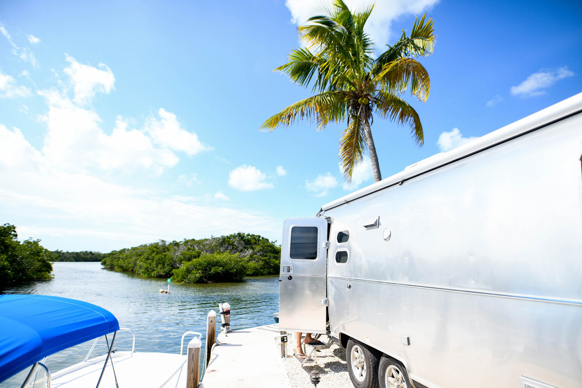 Airstream Travel Trailer with Tropica Tree and Surrounding Water