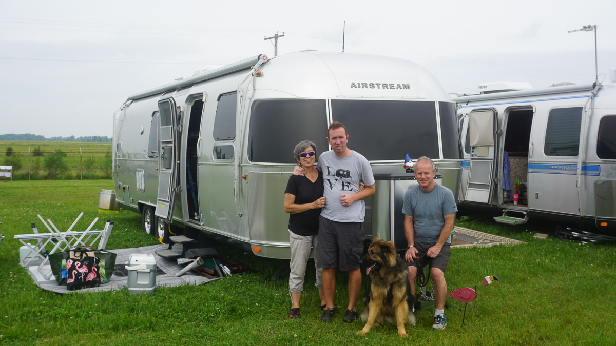 Eddy, Lillian and Christopher Loyd with Airstream Travel Trailer