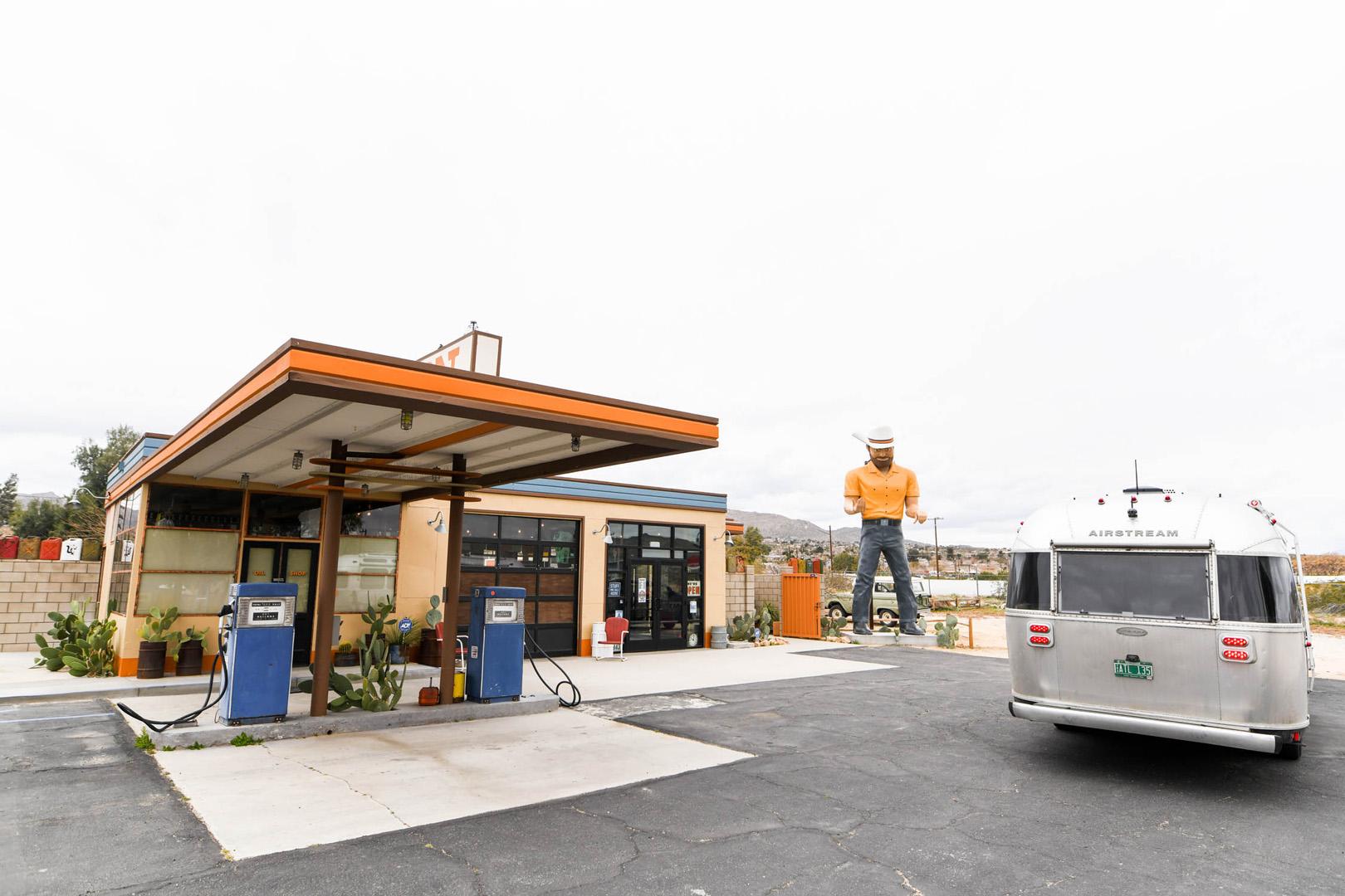 Airstream Travel Trailer RV Camper Trailer at Gas Station