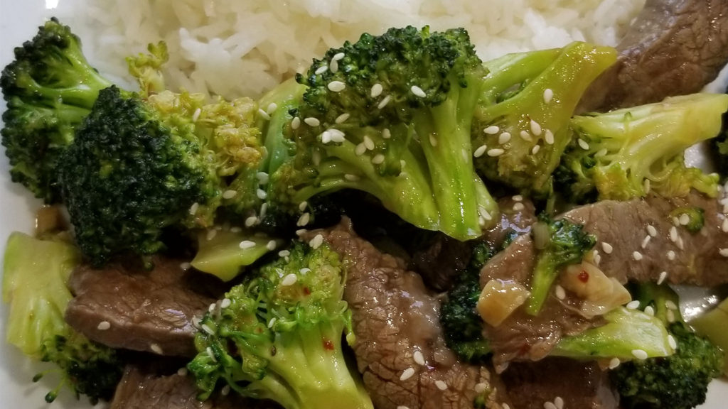 Beef and Brocolli made inside an Airstream Interstate