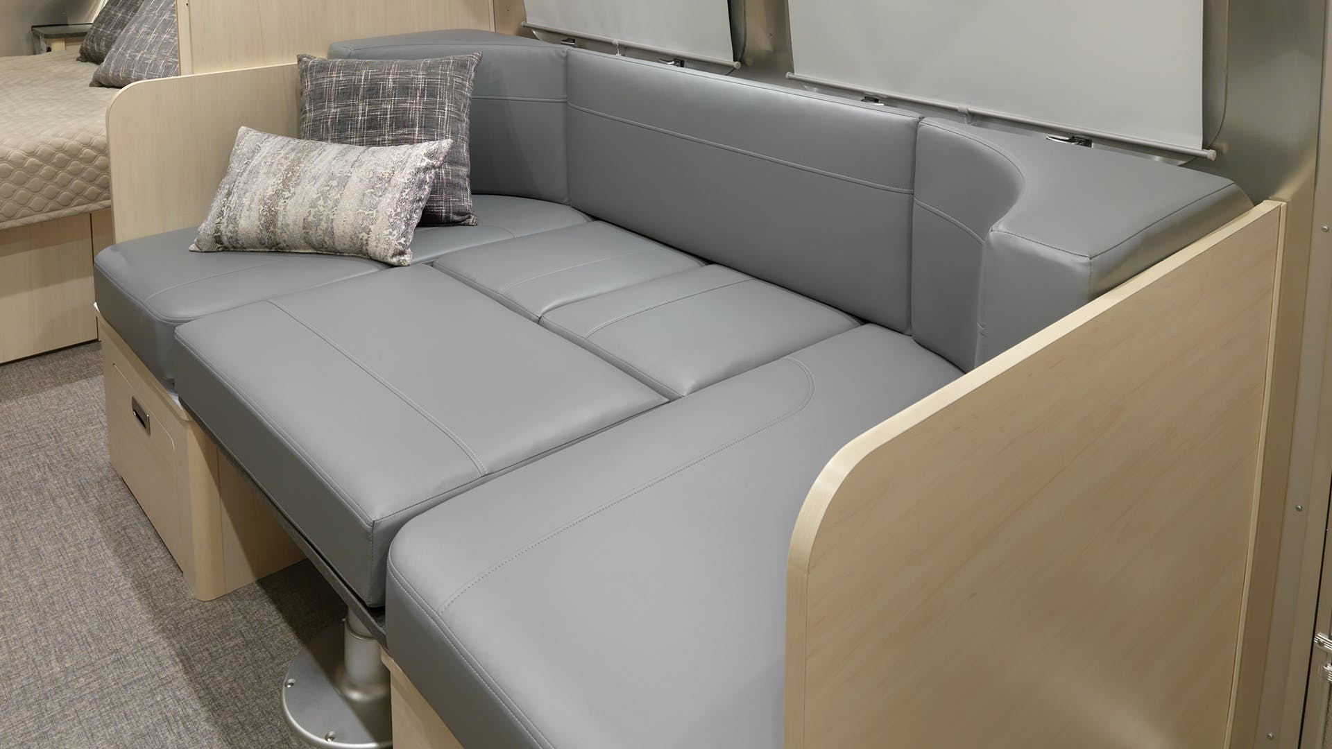 2021-Airstream-Flying-Cloud-Sunlit-Maple-Interior-with-Seattle-Mist-Ultraleather-Converted-Bed