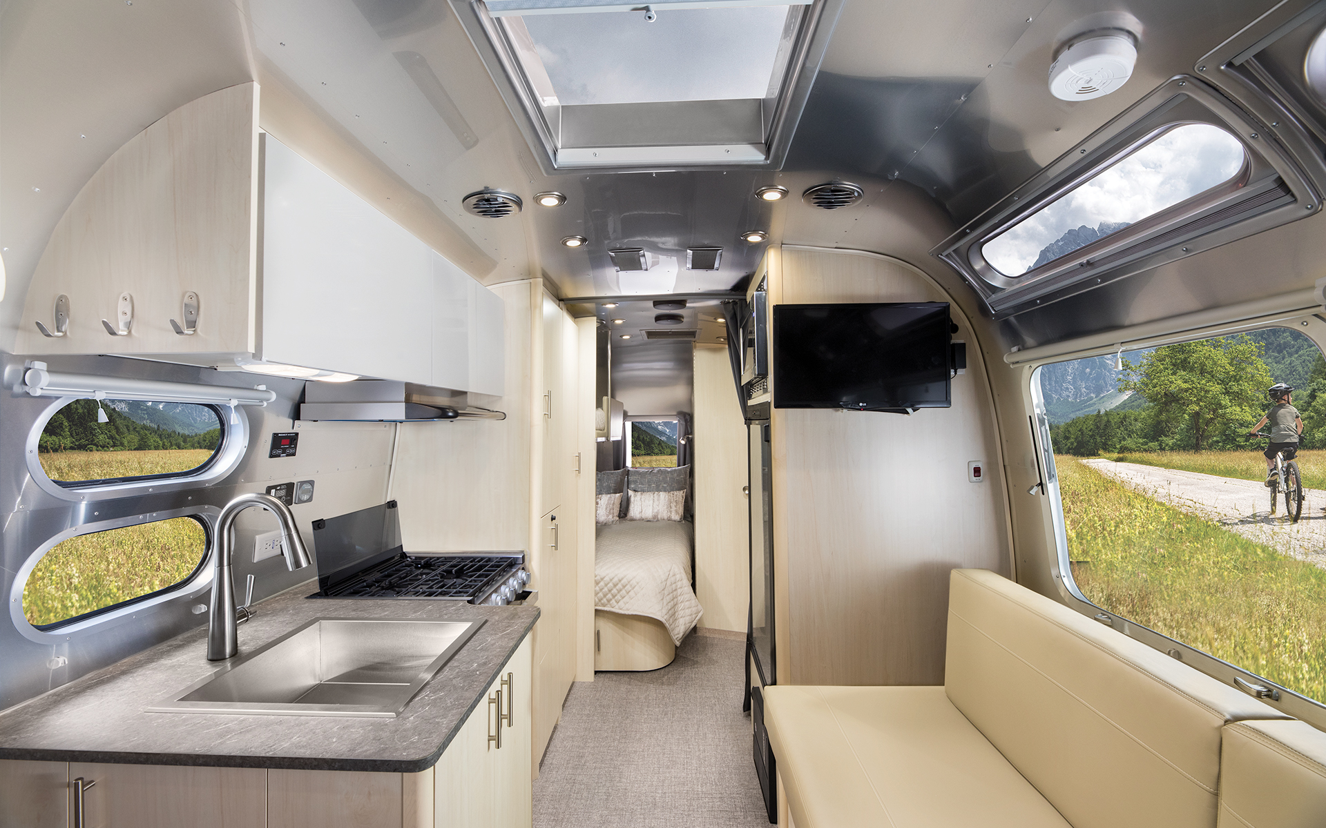 Airstream-Flying-Cloud-23CB-Bunk-Front-to-Back-Interior-Galley