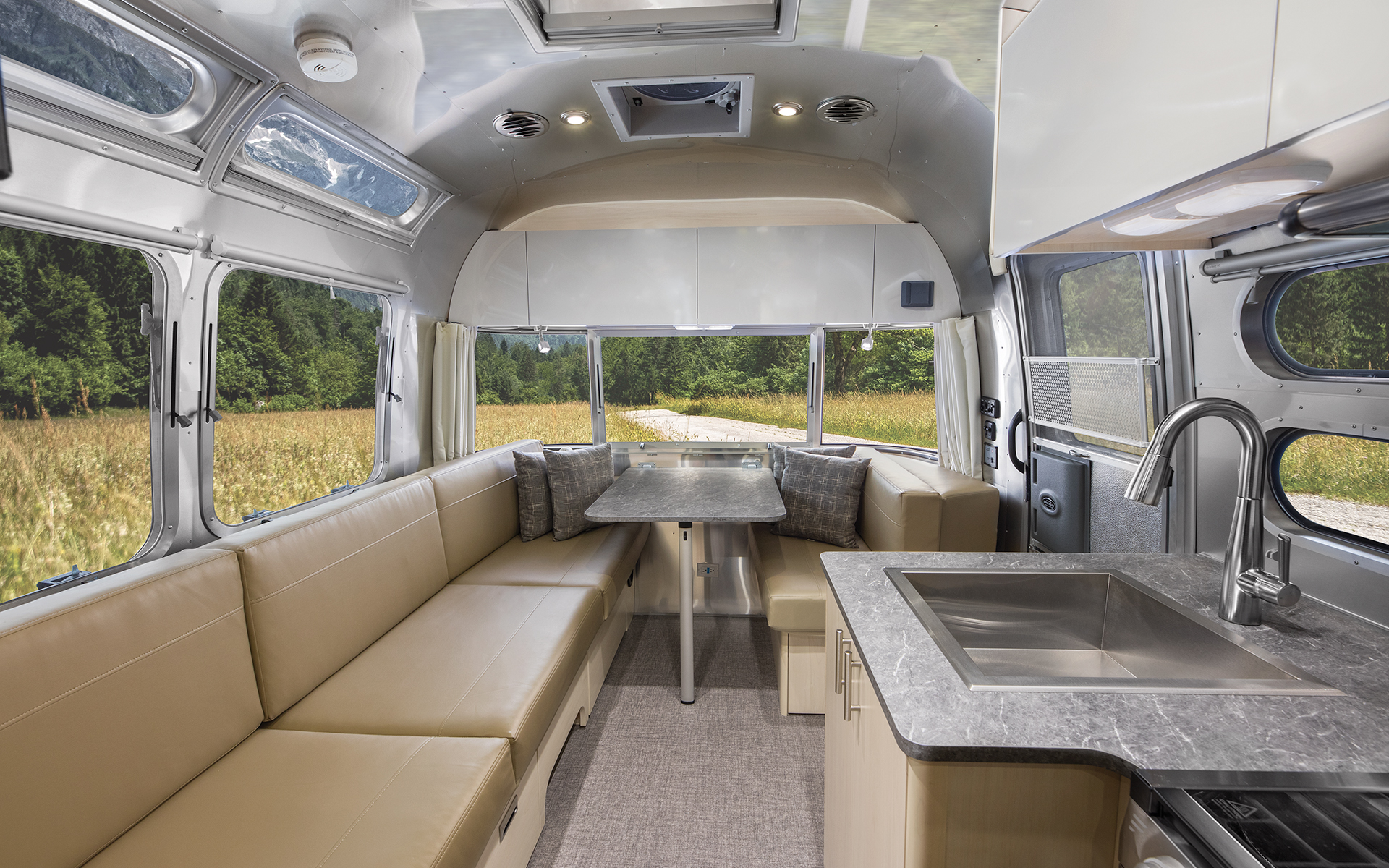 Airstream-Flying-Cloud-23CB-Galley-and-Front-Dinette-Up-Interior