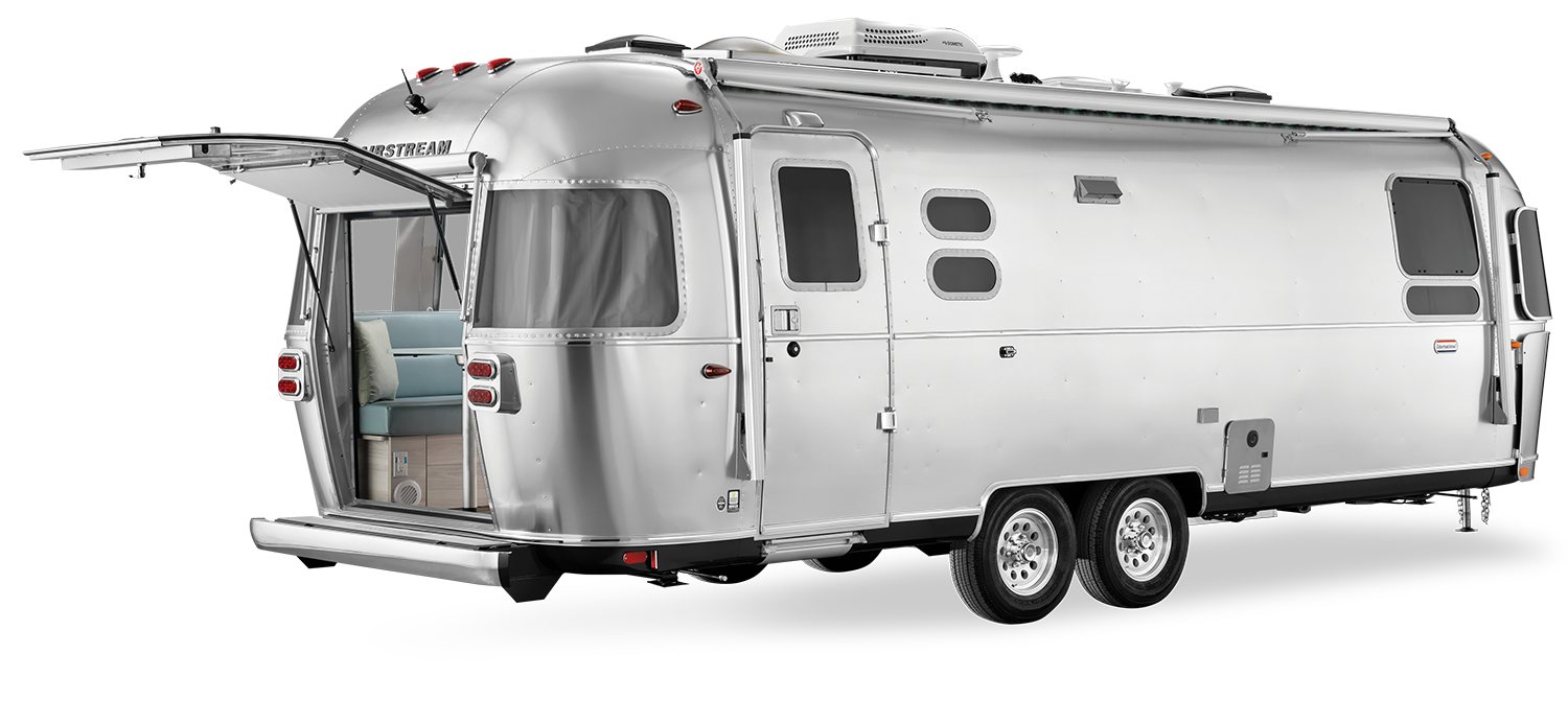 2021 Airstream International 27FB with the Rear Hatch Open Exterior