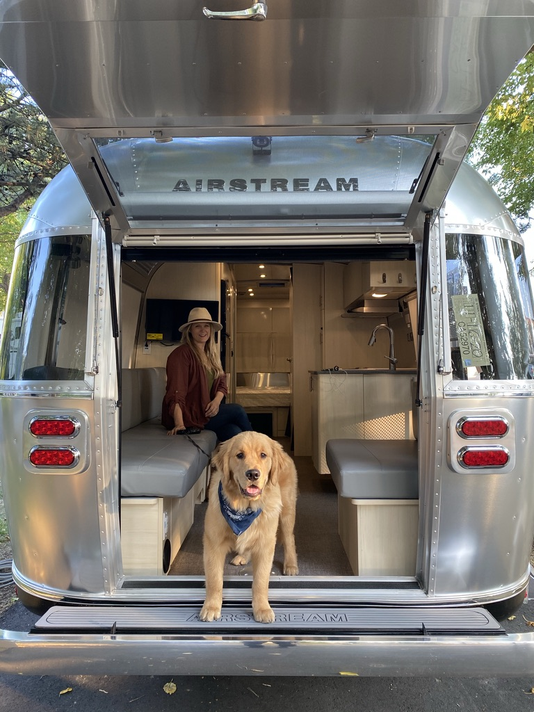 Airstream Flying Cloud with rear Hatch and Puppy