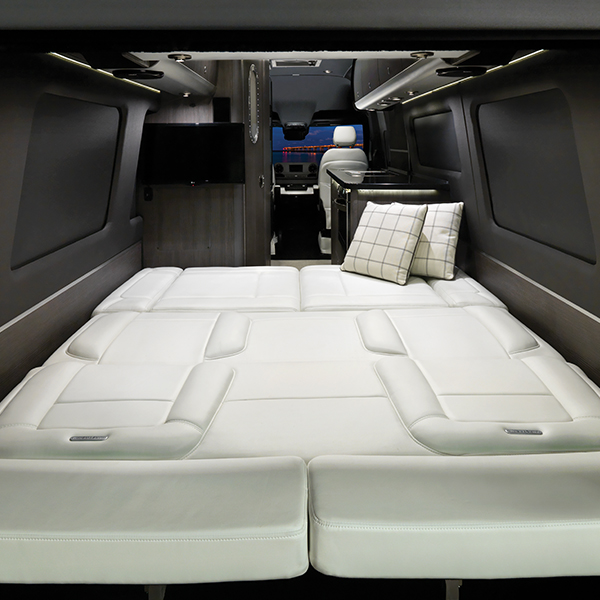 Airstream Interstate Luxury Bed conversion in down position