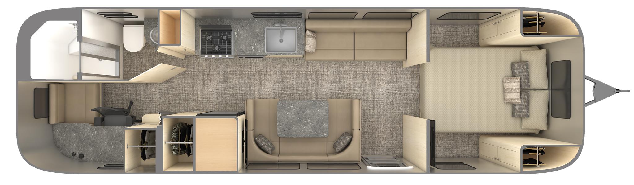 flying cloud 30fb office with desk floor plan