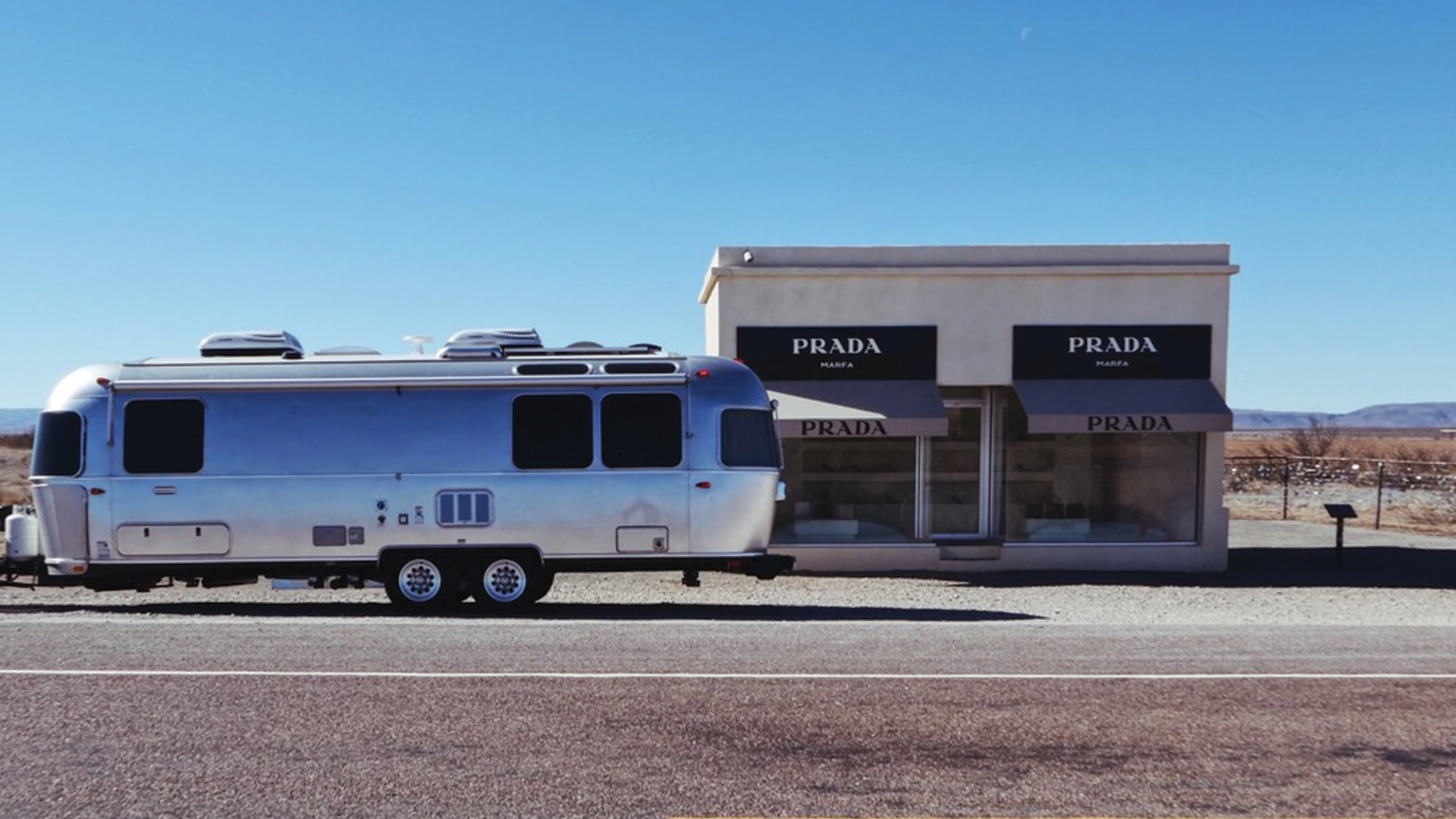 Airstream parked at Prada-Marfa