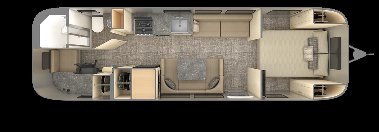 Airstream Flying Cloud 30FB office floor plan