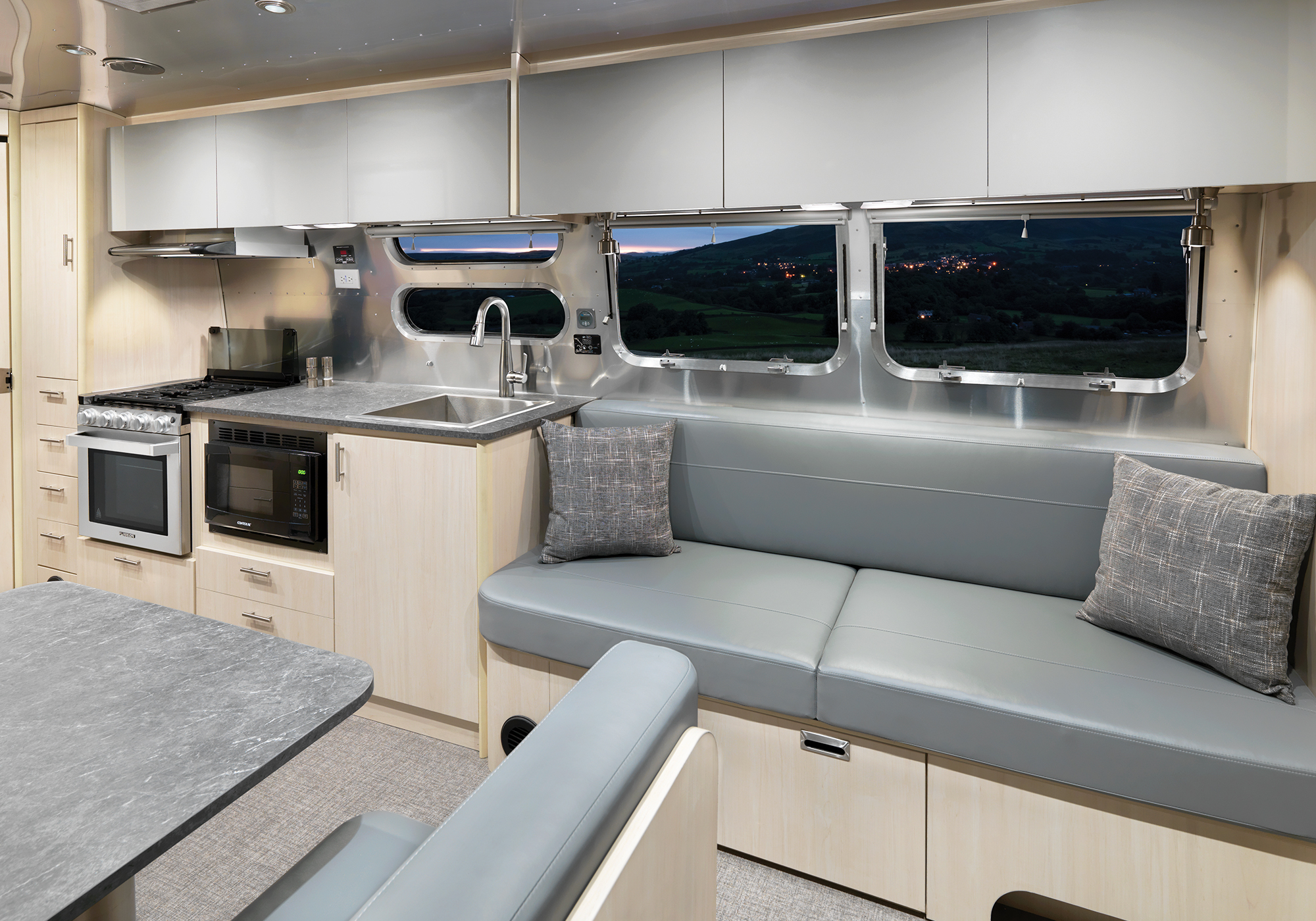 Airstream Flying Cloud 30FB office Sofa and Galley