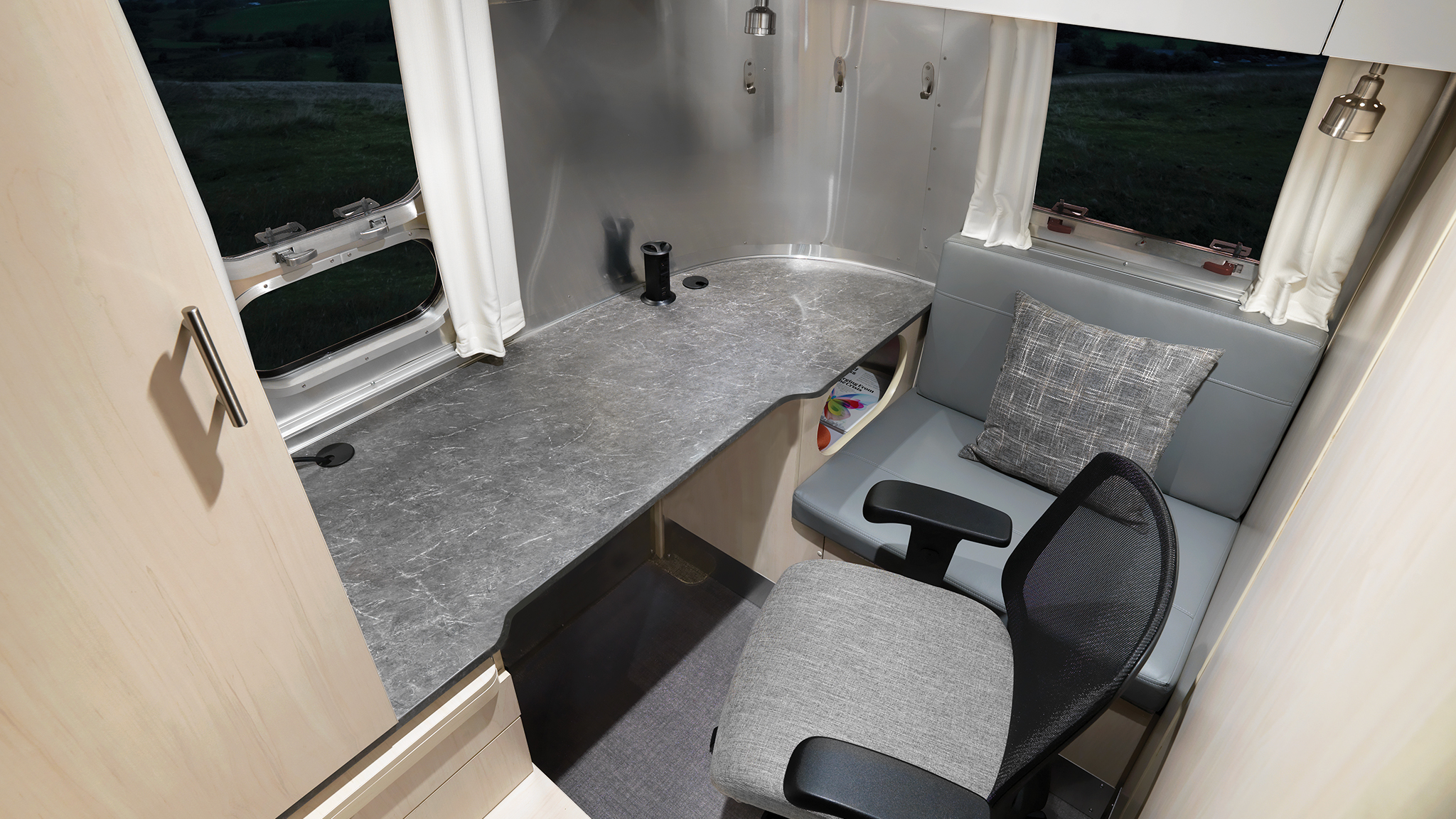 Airstream Flying Cloud 30FB office Desk Aerial view