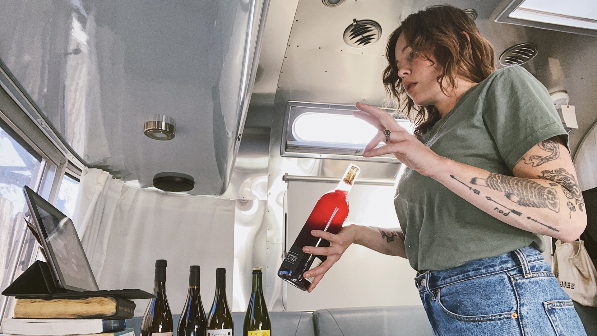 Teaching a wine class inside of an Airstream