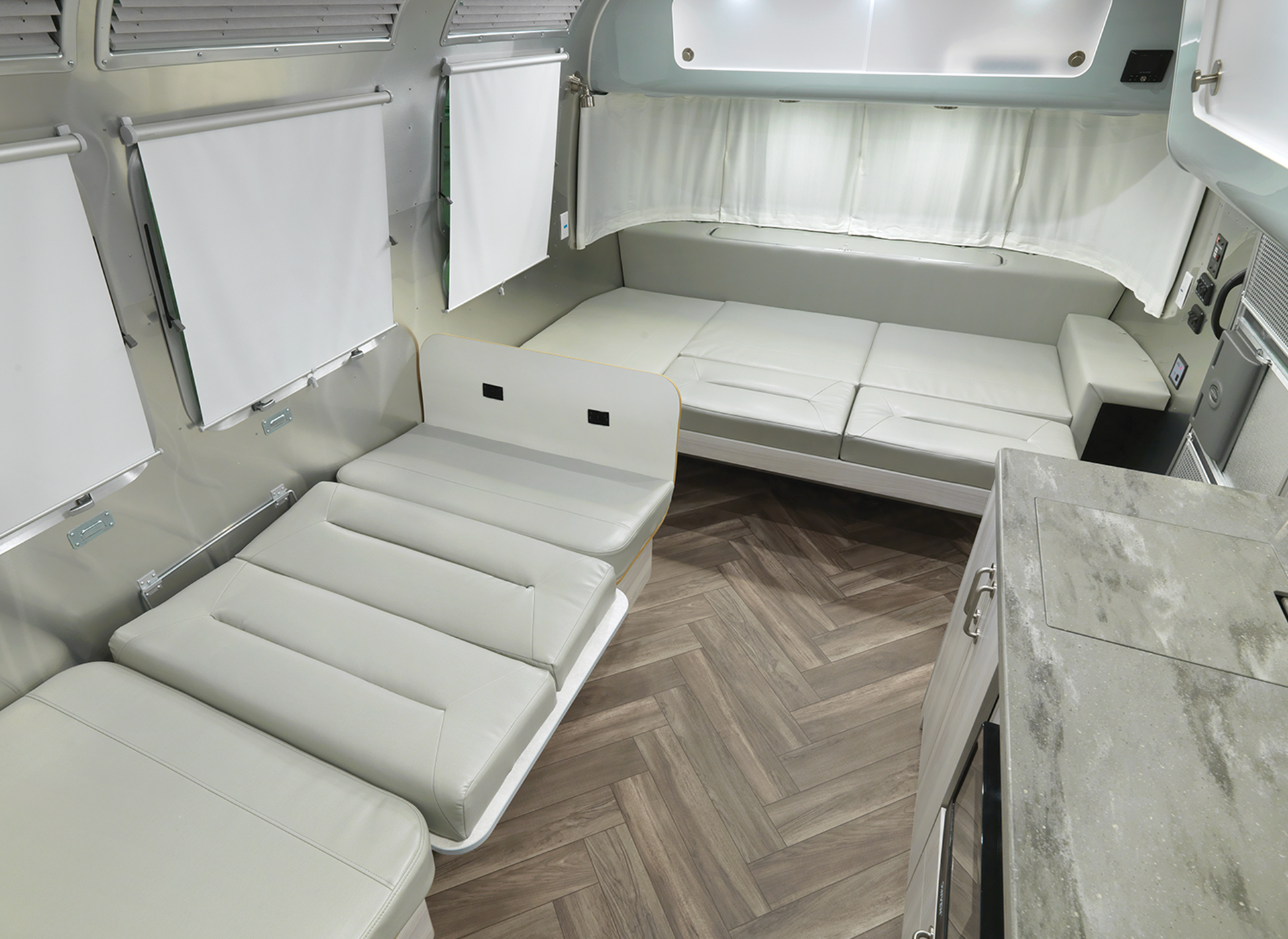 Airstream International 30RB Interior with Bed Down and Lounge Down