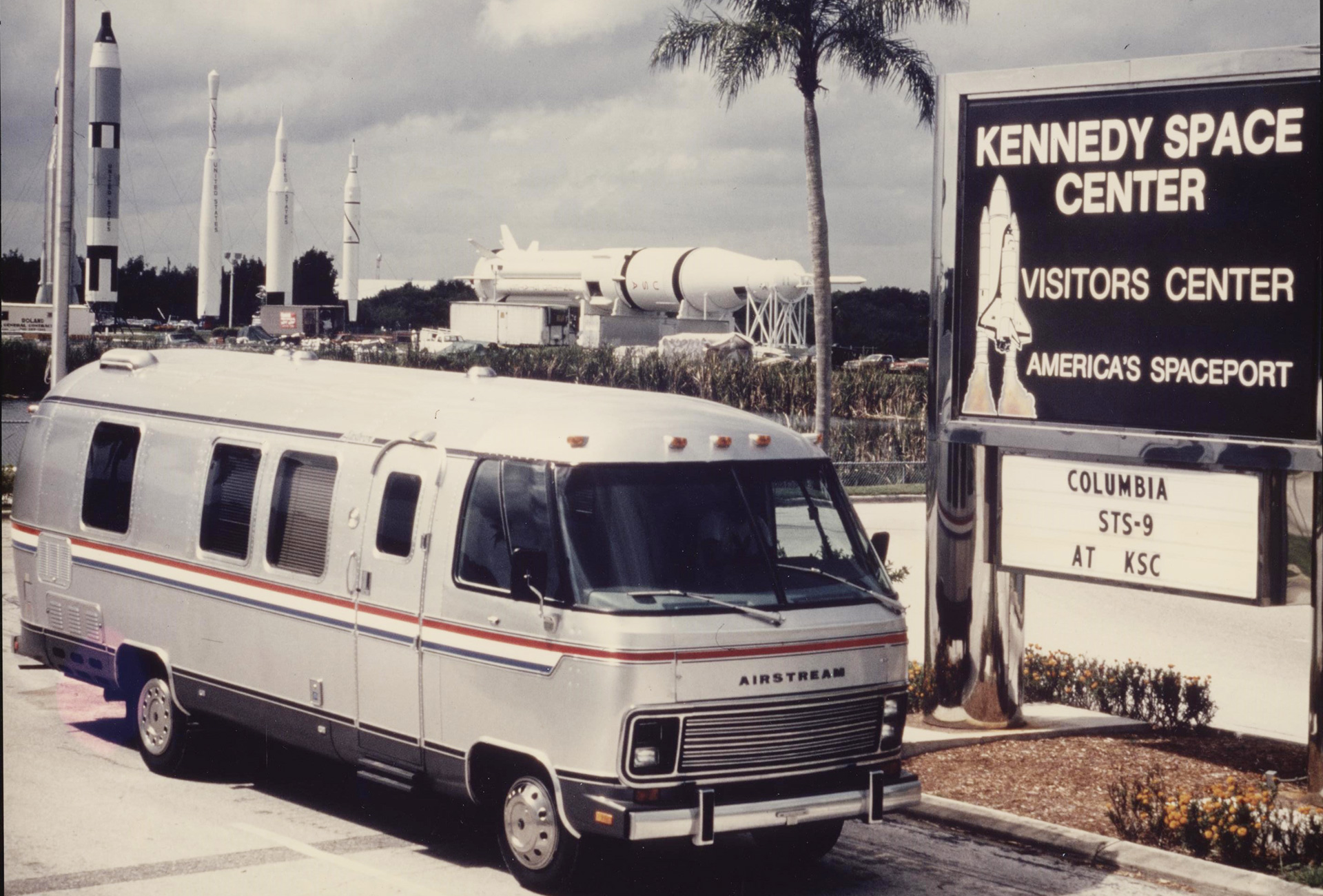 Airstream Astrovan RV sitting outside the Kennedy Space Center