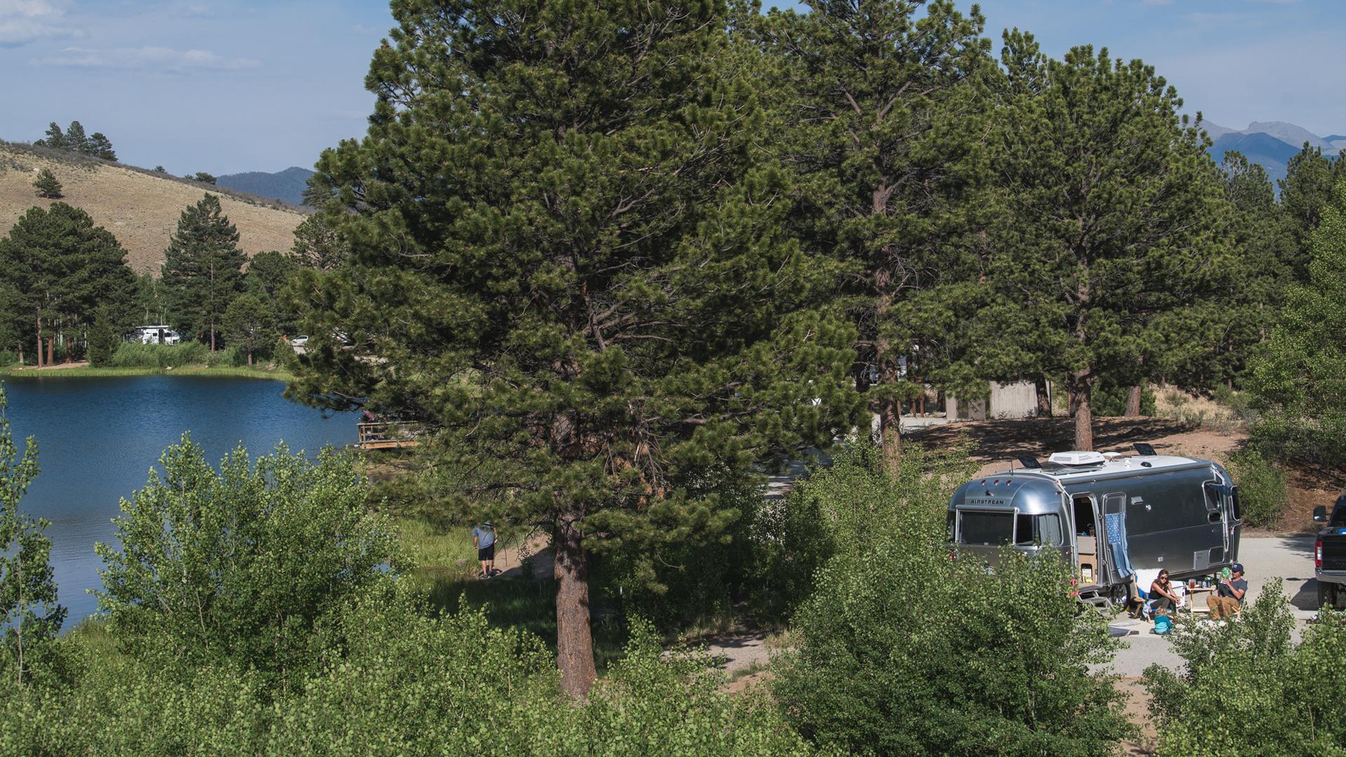 Airstream at a campsite