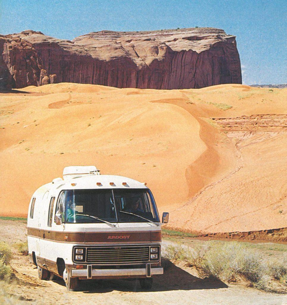 Vintage rv photo in the desert
