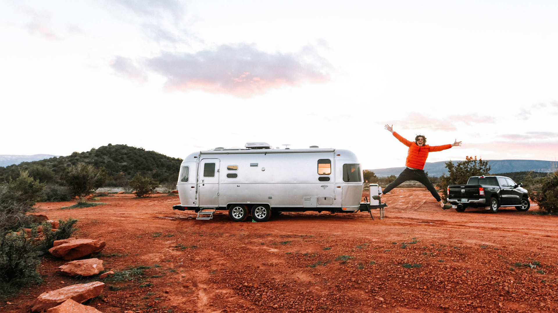 Jumping in front of Airstream