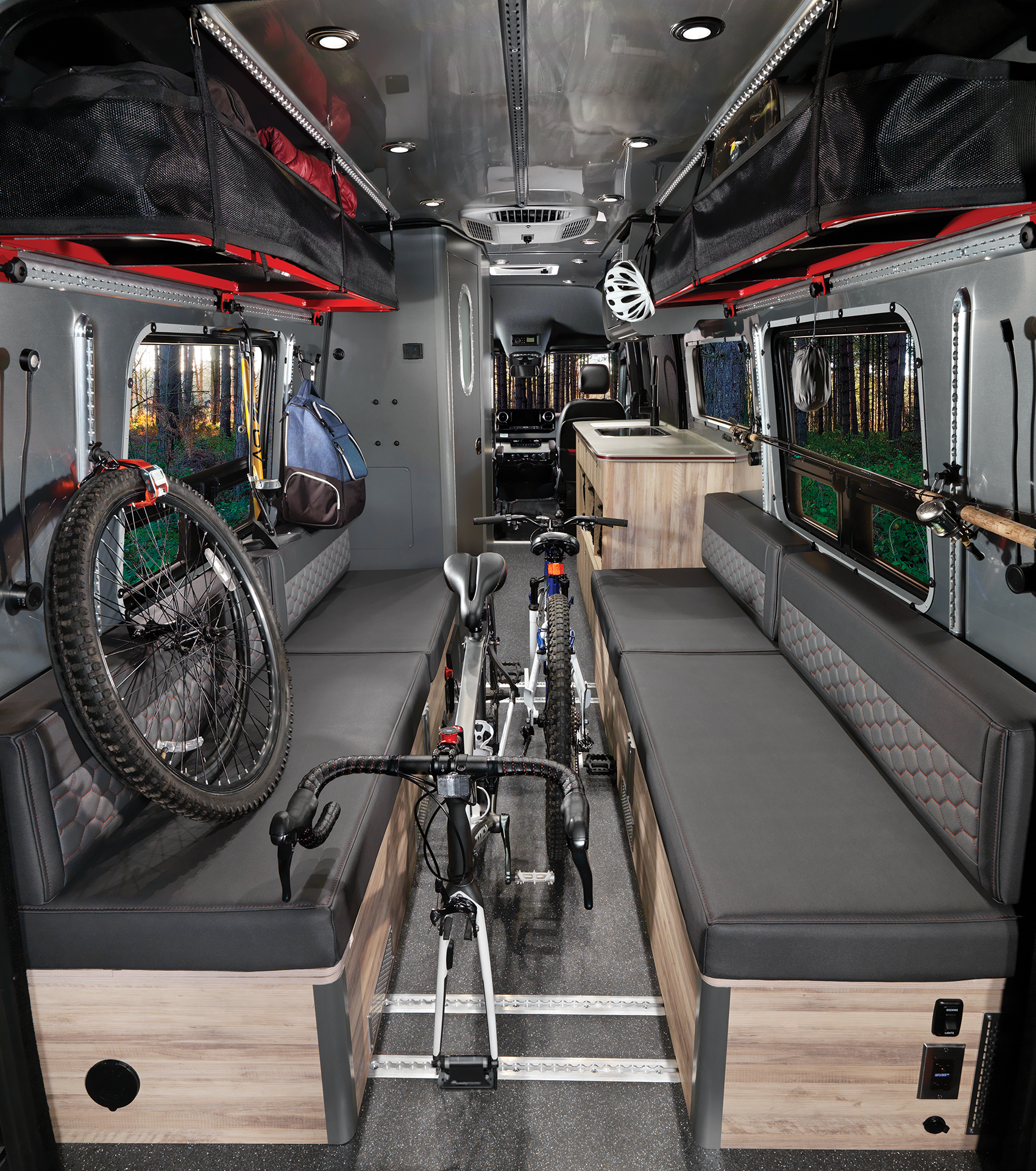 Airstream-Interstate-24X-Interior-with-Gear-Mounted-Bikes