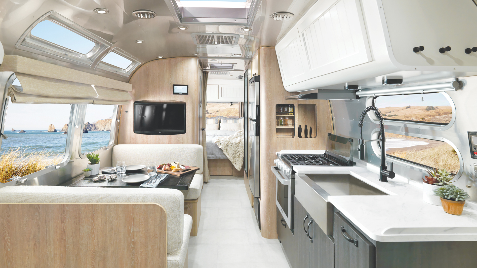 Airstream Pottery Barn Travel Trailer Interior Front to Back
