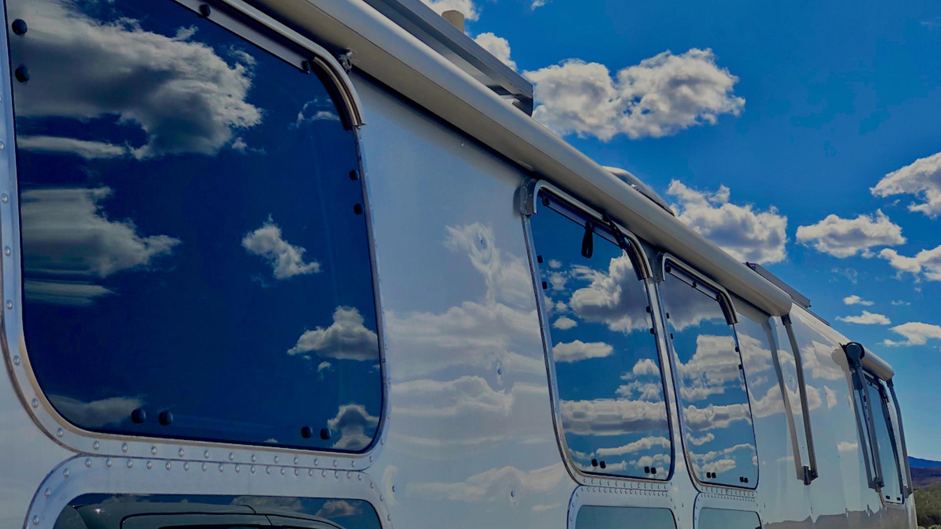 Sky reflecting in Airstream windows