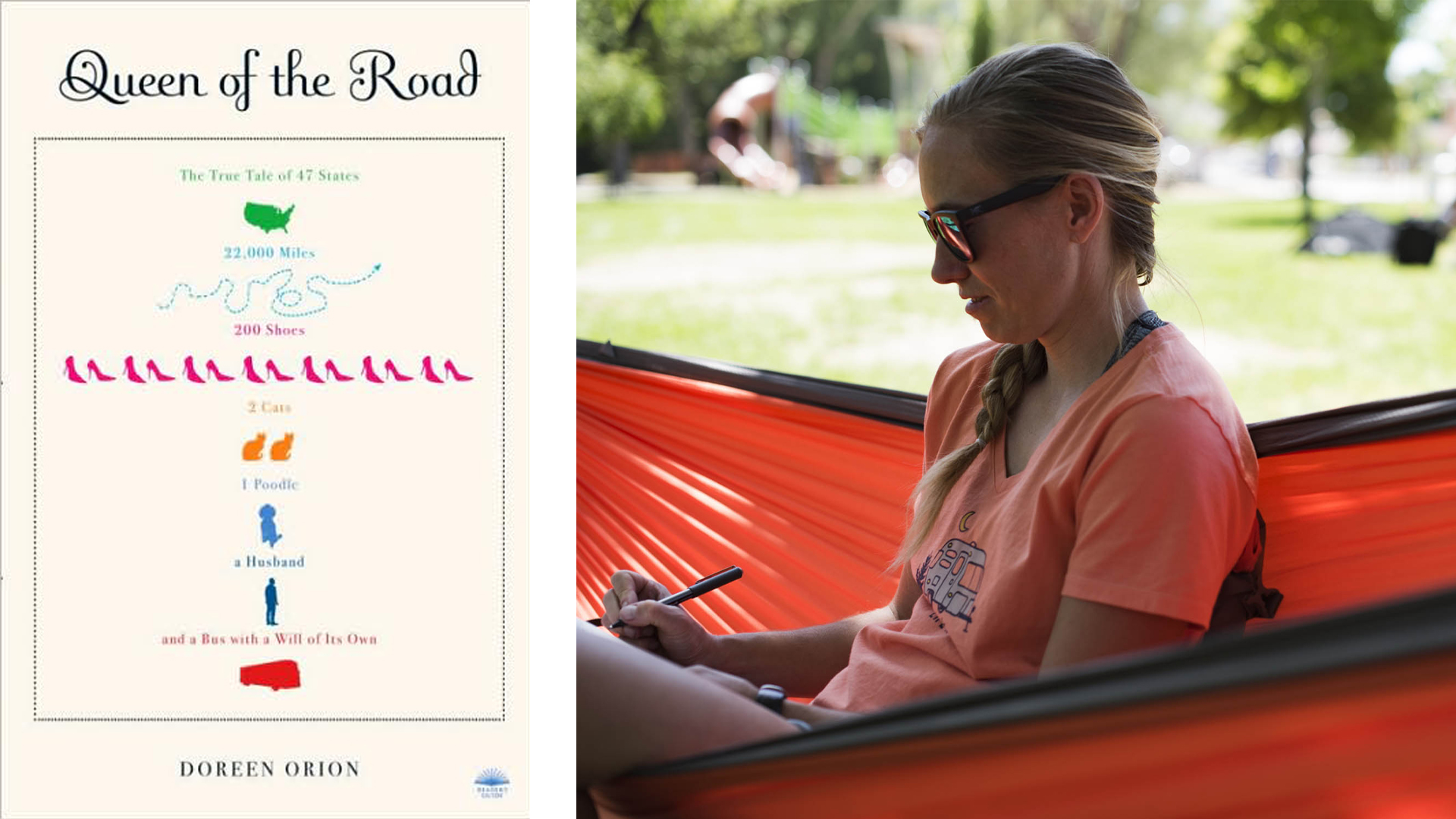 Queen of the Road book cover and a female sitting in a hammock