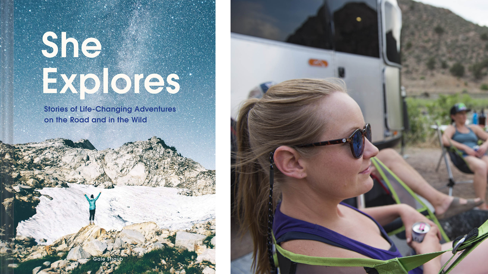 She Explores book cover and a female sitting outside next to her Basecamp Travel Trailer