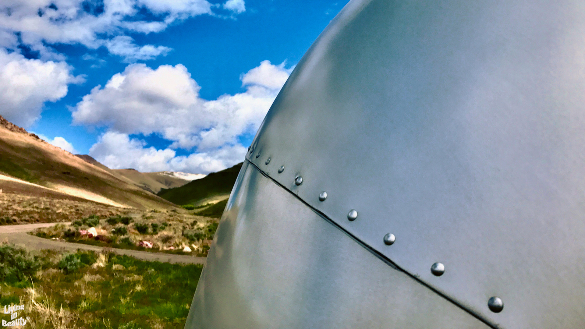 Close up image of rivets on an Airstream