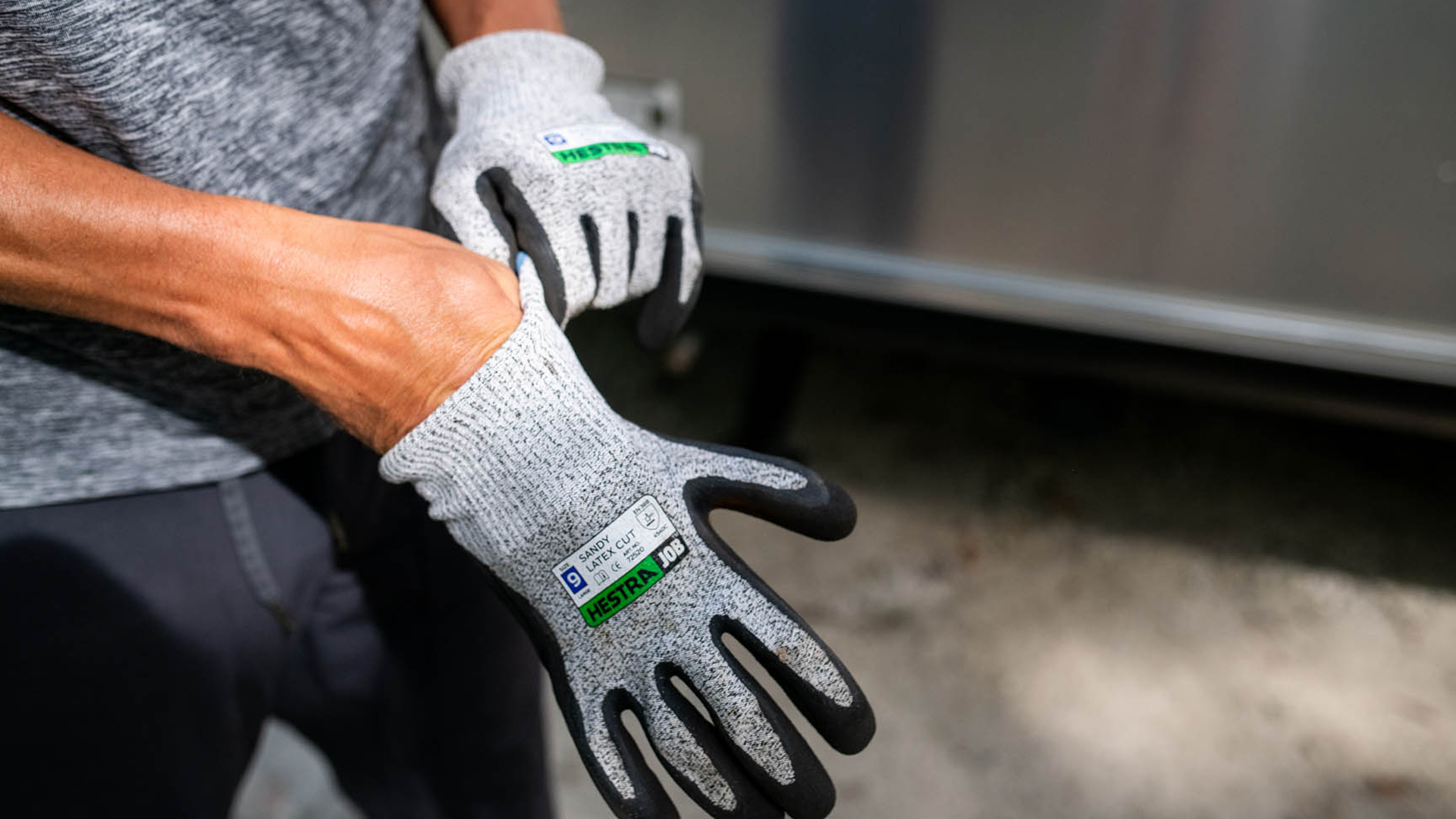 Airstream putting on gloves