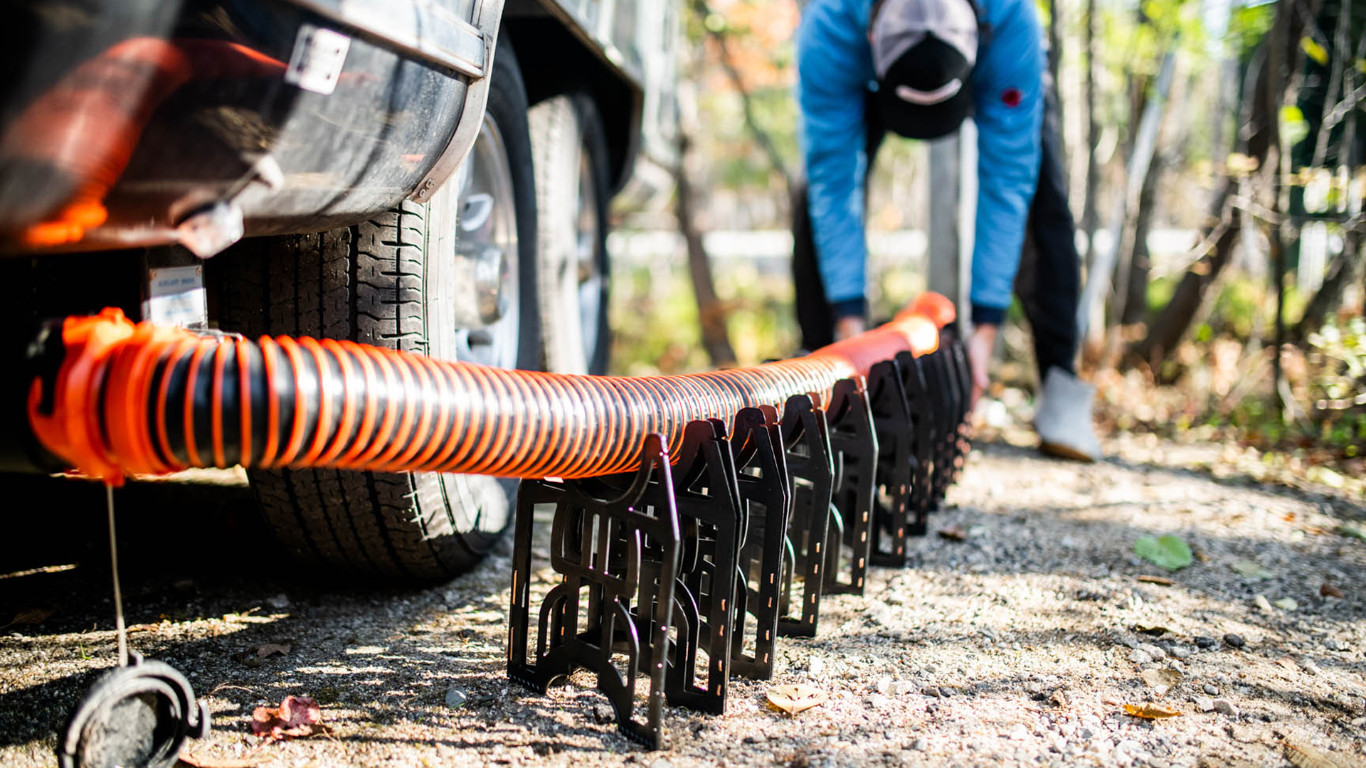 Setting up sewage hose for Airstream Travel Trailer