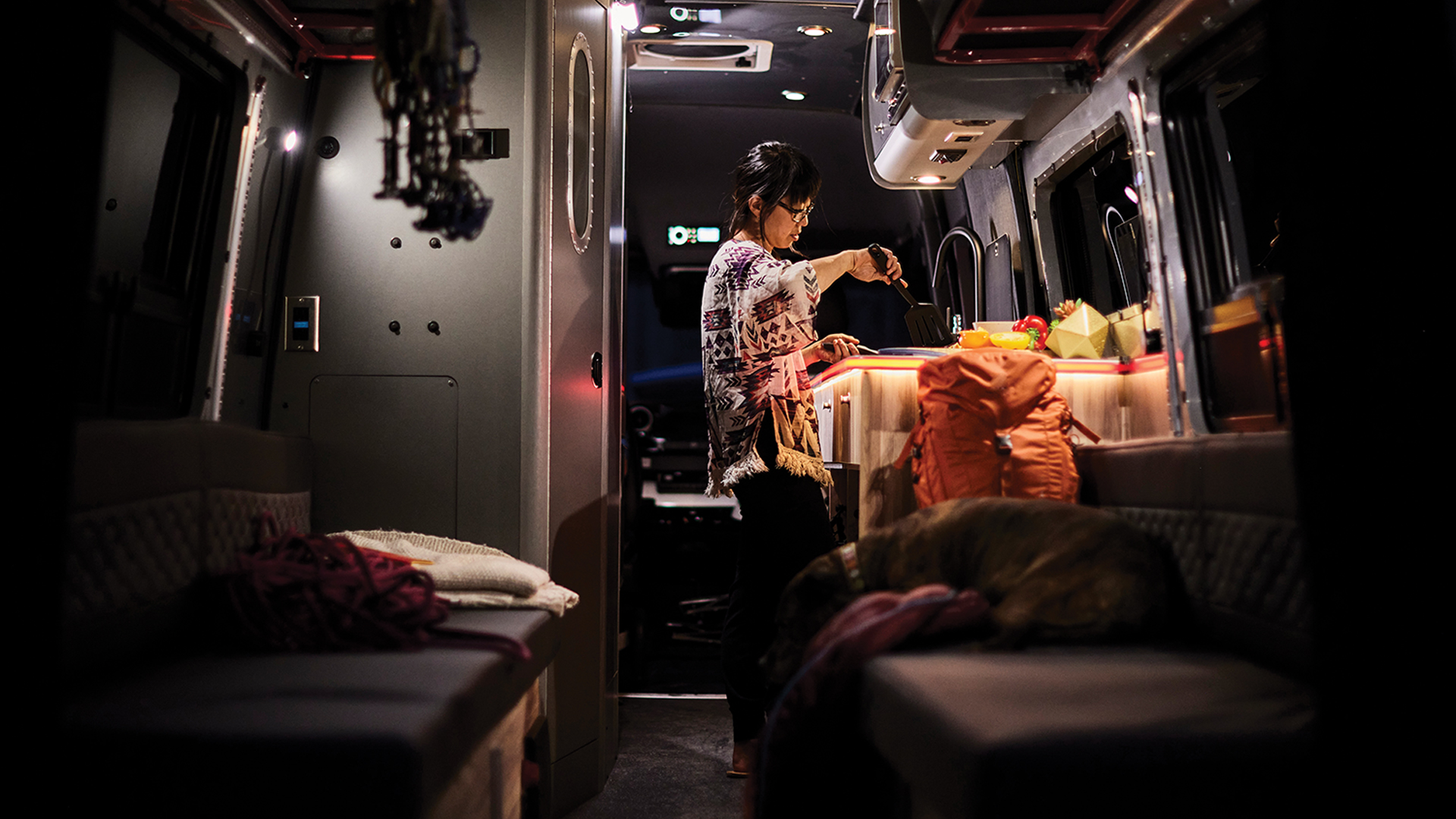 Airstream Class B Motorhome Cooking on the go